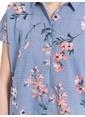 LC Waikiki Çiçek Desenli Viskon Gömlek Mavi